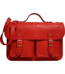 bolsa line store leather satchel pockets grande couro vermelho