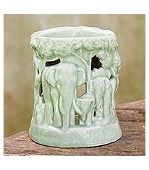 ceramic oil warmer, 'lush thai forest' (thailand)