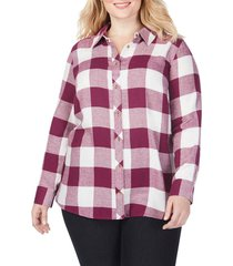 plus size women's foxcroft rhea buffalo check brushed cotton blend shirt, size 22w - purple