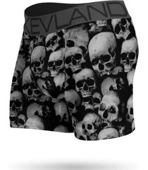 cueca boxer kevland black and white skulls preto