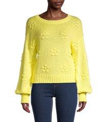 525 america women's flower bobble bishop-sleeve sweater - white - size m