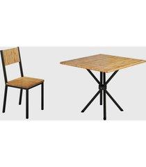 conjunto 4 cadeiras e tampo eucalipto preto fosco madmelos