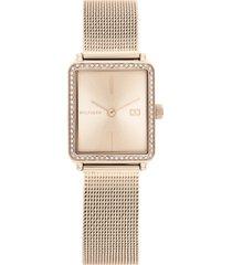 tommy hilfiger women's carnation gold-tone mesh bracelet watch 21mm
