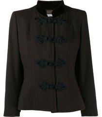 yves saint laurent pre-owned 1980's toggle fastenings jacket - brown