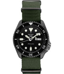seiko men's automatic 5 sports green nylon strap watch 42.5mm