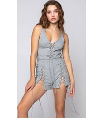 akira lace it up romper with multi laces
