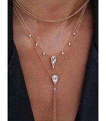fashion rhinestone drop colgante conjunto de collar de múltiples capas con borlas