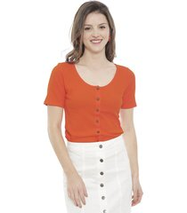 blusa jacqueline de yong nevada treats naranjo - calce regular