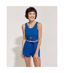 top cropped feminino pantone canelado com recorte vazado alças médias azul