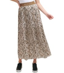 dkny pleated snake-print midi skirt