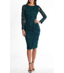 xscape lace applique long sleeve cocktail dress, size 16 in hunter at nordstrom
