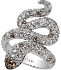 le vian red carpet chocolatier diamond snake ring (1-7/8 ct. t.w.) in 14k white gold