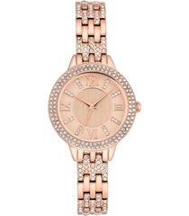 badgley mischka ladies rose gold-tone bracelet with swarovski crystal accents watch 30mm