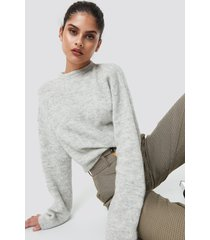 na-kd trend alpaca wool blend round neck sweater - grey