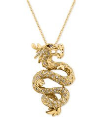 effy diamond dragon pendant necklace (5/8 ct. t.w.) in 14k gold