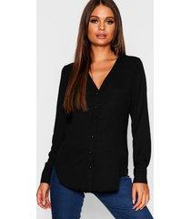 blouse met v-hals, zwart