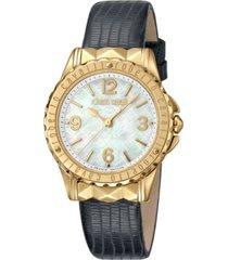 roberto cavalli by franck muller women's swiss quartz black leather strap watch, 34mm