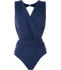 brigitte lumma draped swimsuit - blue