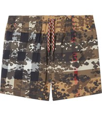 burberry camouflage check swim shorts - neutrals