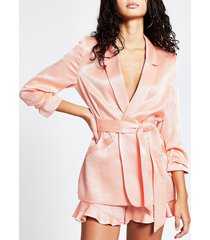 river island womens coral ruched sleeve tie belted blazer