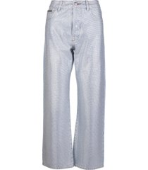 philipp plein woman high waist cropped jeans with crystals