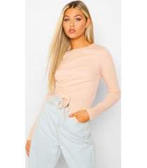 tall rib long sleeve ruched top, nude