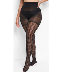 lane bryant women's control top smoothing tights - 20/40d sheer houndstooth black