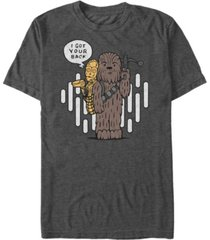 star wars men's classic cute chewie and c-3po cartoon short sleeve t-shirt