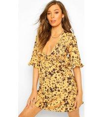 geribbelde gesmokte jurk met ruches, yellow