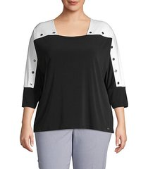 plus colorblock dolman-sleeve top