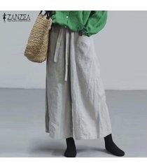 zanzea mujeres ocasionales anchas piernas de los pantalones largos de algodón pantalones de gran tamaño étnicas harem holgado plus -gris