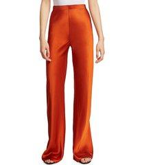 rosetta getty women's bias satin trousers - terracotta - size 2