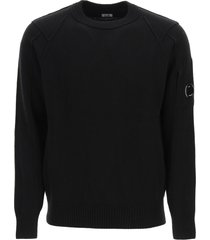 c.p. company sweater with stitching and lens