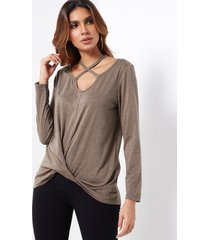 coffee chocker neck knotted long sleeves t-shirt