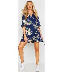 bloemenprint wikkel jurk met geplooide zoom, marineblauw