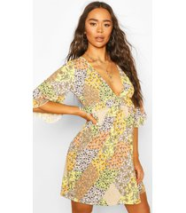mixed floral print ruffle detail smock dress, yellow