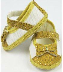 sapato bebê feminino amarelo com dourado-p