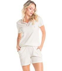 pijama curto com bolso em algodão egípcio andréa