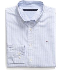tommy hilfiger men's custom fit essential stripe shirt collection blue - m