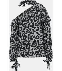 camicetta manica lunga patchwork con spalle scoperte e stampa leopardata