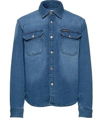stretch knitted denim shirt overhemd blauw calvin klein