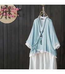 zanzea s-5xl mujeres asimétrica volantes hem tapas de la camisa del cuello de v casaul remata la blusa étnico -lago azul