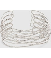 lane bryant women's faceted metal cuff bracelet onesz white