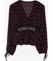 womens love is petal around lace floral blouse - black