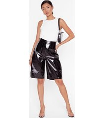 womens it's been too longline vinyl high-waisted shorts - black