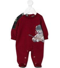 lapin house teddy bear print romper - red