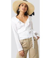 rut&circle frill wrap blouse - white