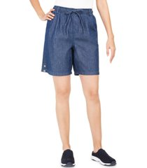 karen scott petite cotton lisa pull-on denim shorts, created for macy's