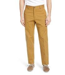 men's berle charleston flat front stretch canvas pants, size 35 - beige