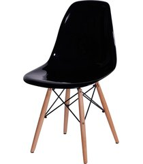 cadeira dkr policarbonato e base de madeira malawi – preta